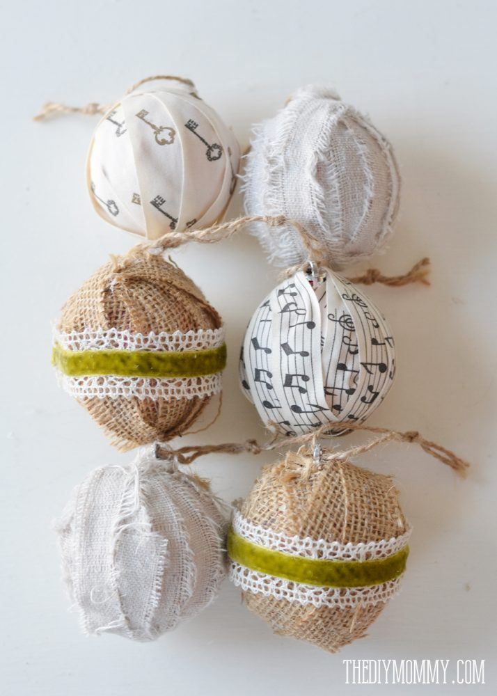 diy christmas ornament fabric and ribbon wrapped. Black Bedroom Furniture Sets. Home Design Ideas