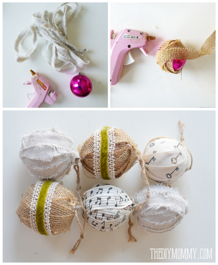 How To Make Christmas Decorations Youtube: DIY Christmas Ornament: Fabric And Ribbon Wrapped