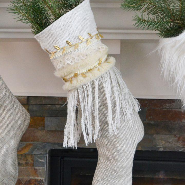 Anthropologie Inspired Linen Burlap Christmas Stockings - Free Pattern & Tutorial