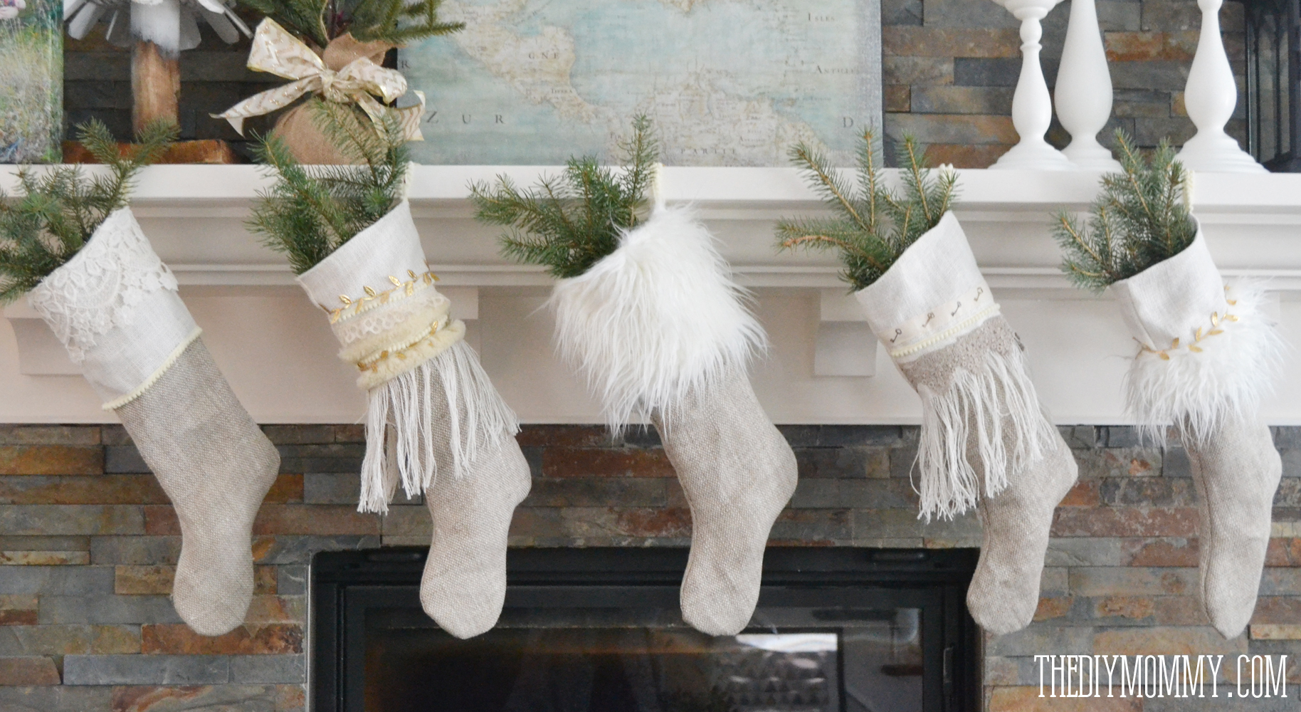 anthropologie inspired linen burlap christmas stockings free pattern tutorial - Burlap Christmas