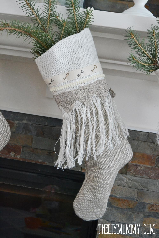 Sew Linen Burlap Christmas Stockings (Anthropologie Inspired) | The ...