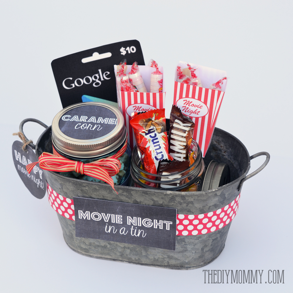 A gift in a tin movie night in a tin the diy mommy gift basket idea a movie night in a tin includes free printable tags and solutioingenieria Choice Image