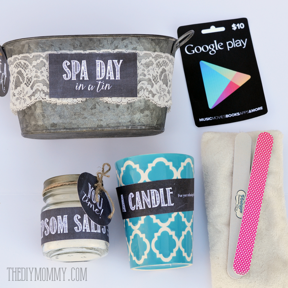 A creative gift basket idea: Spa Day in a Tin! Put a candle, eye pillow, epsom salts, nail files and a Google Play card in a pretty tin - comes with free printable tags and labels.