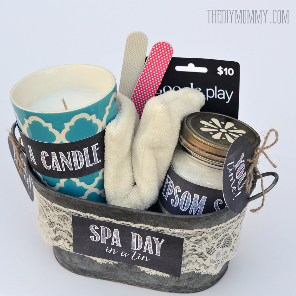 A gift in a tin spa day in a tin the diy mommy a creative gift basket idea spa day in a tin put a candle solutioingenieria Choice Image