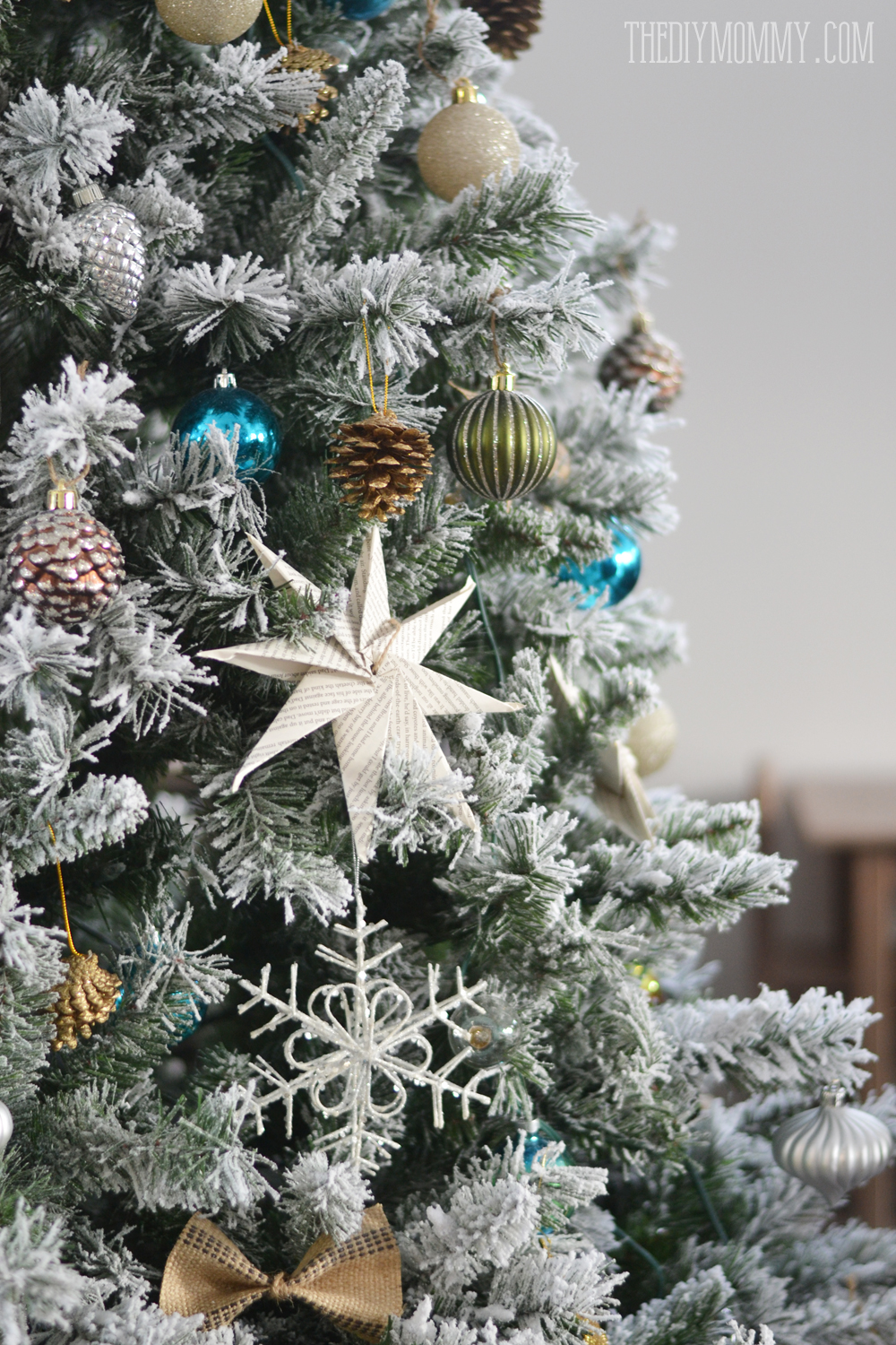A Turquoise, Teal, Silver And White Vintage Inspired Flocked Christmas Tree.  The Decorations ...