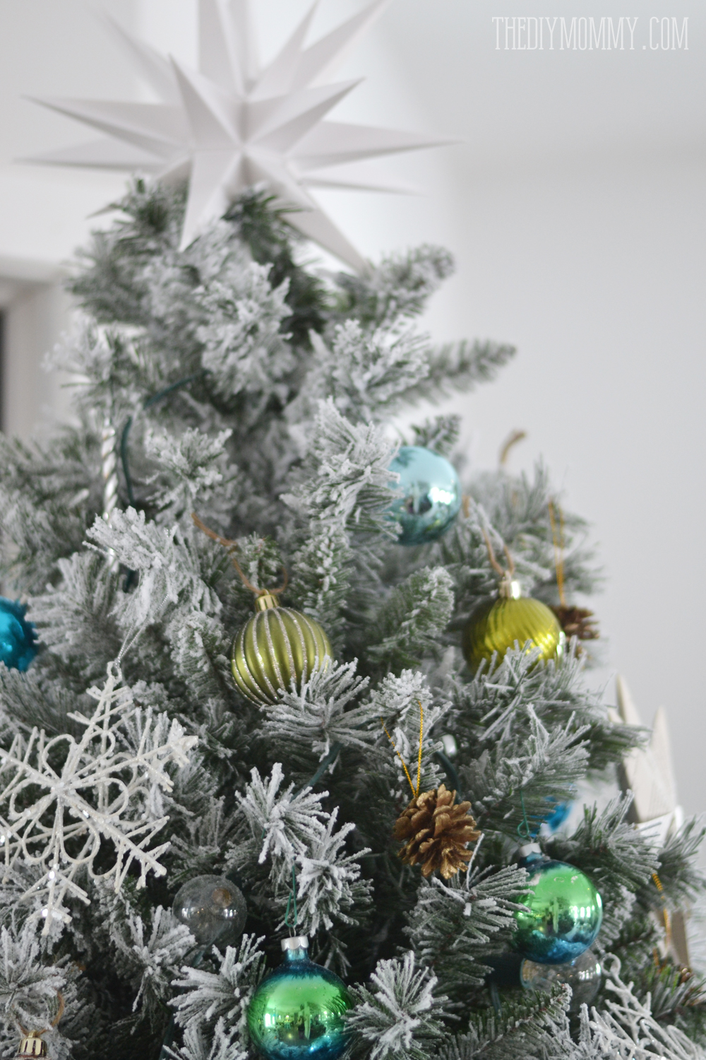 a turquoise teal silver and white vintage inspired flocked christmas tree - Christmas Tree White