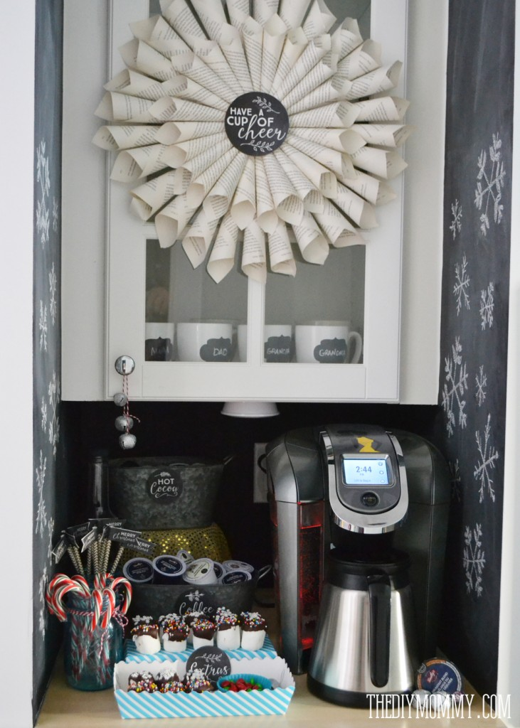 A black & white chalkboard coffee & hot chocolate station for Christmas