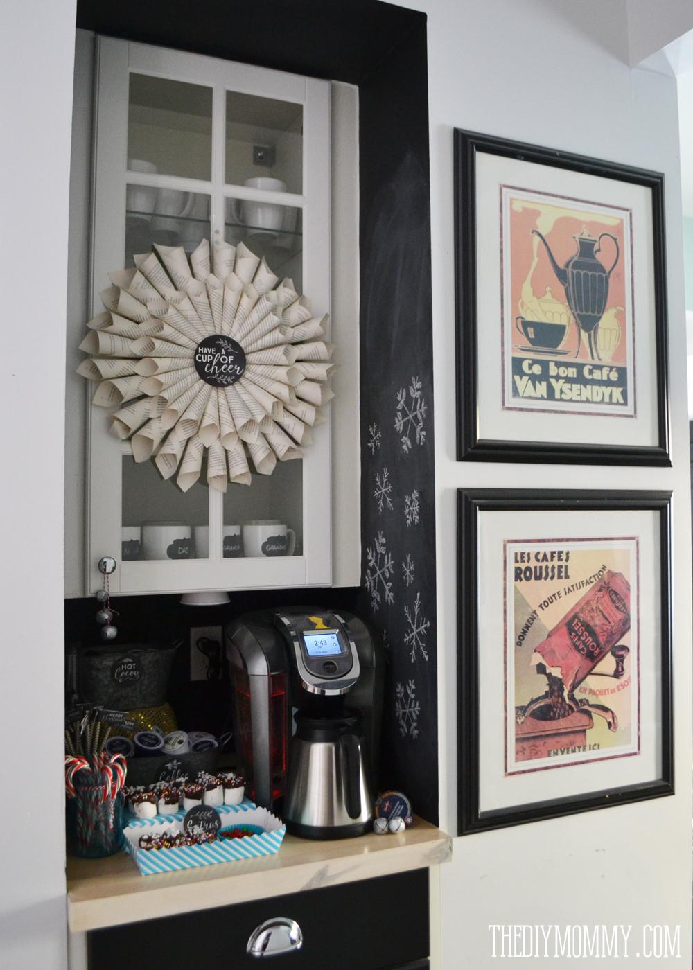 A black & white chalkboard coffee & hot chocolate station ...