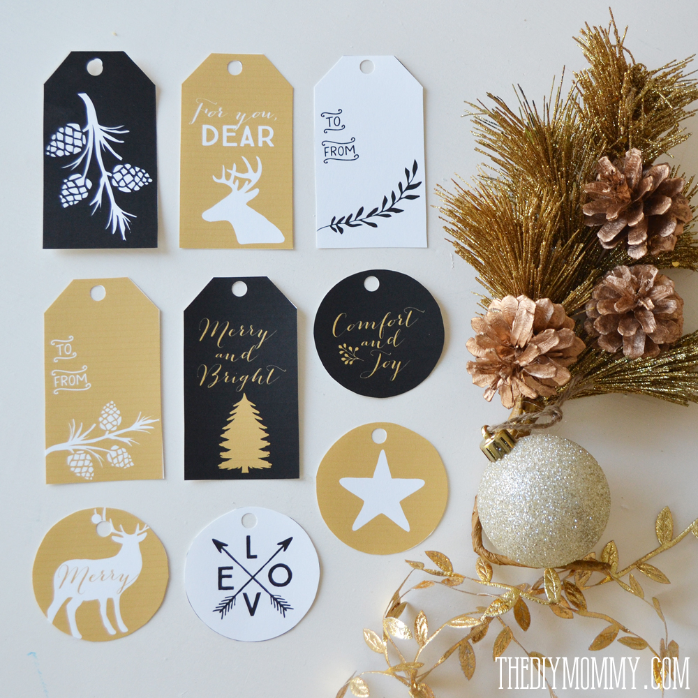 Black, white and gold free printable Christmas gift tags