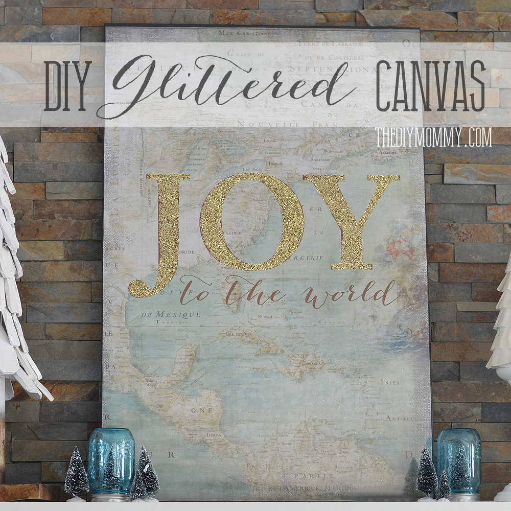 How To Make Large Vintage Map Glitter Joy The World Canvas Art