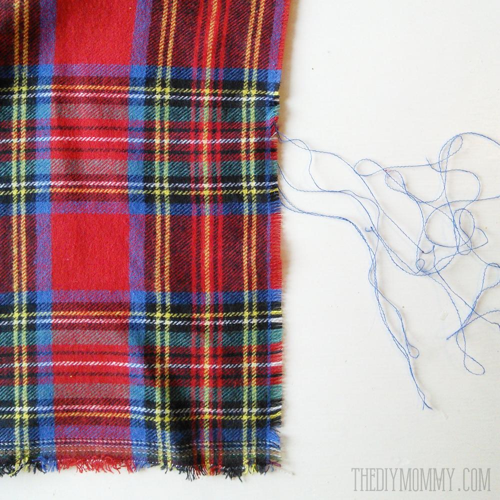 How to make a DIY plaid tartan blanket scarf - SO easy!