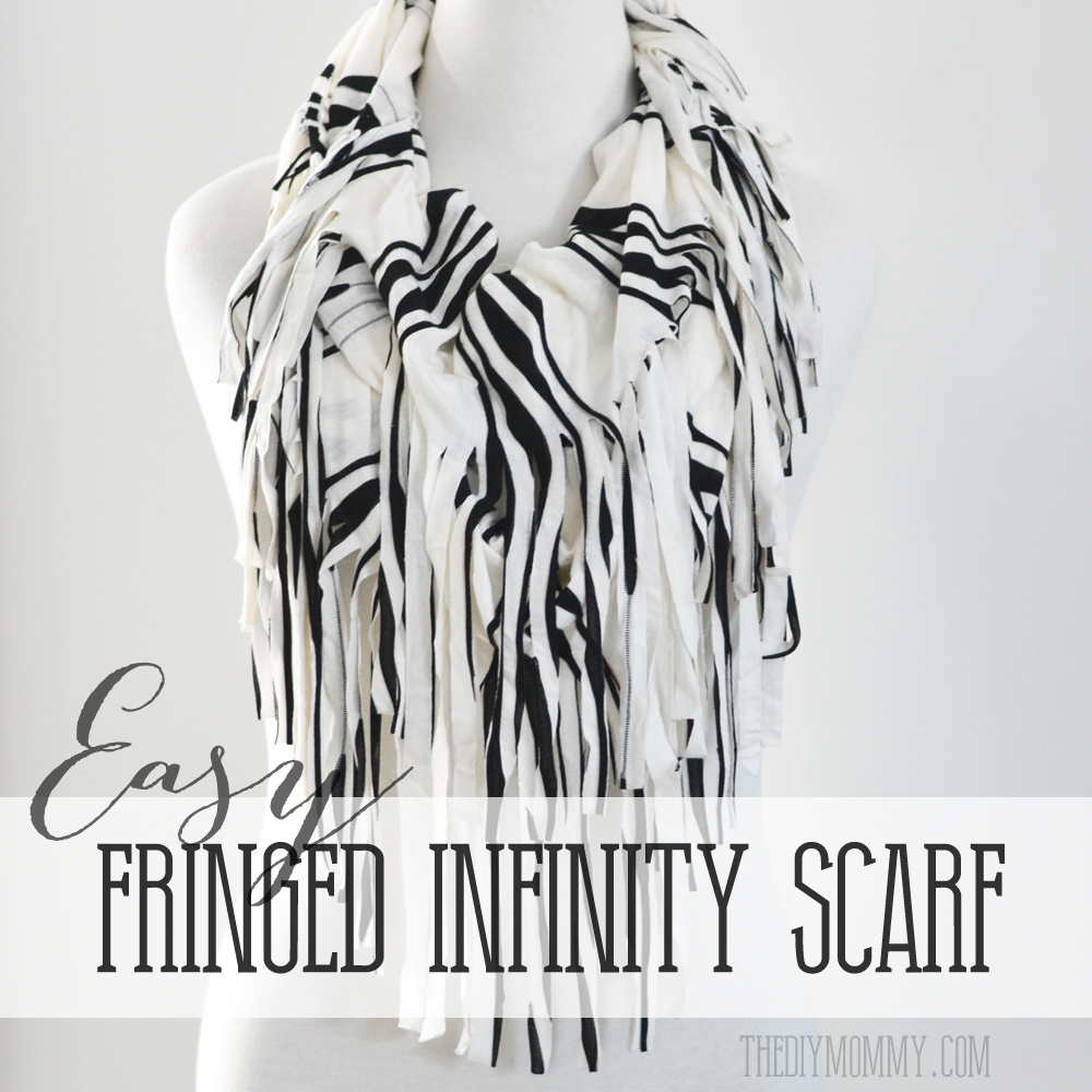 How to make a fringed infinity scarf with knit jersey - just some cutting and one seam to sew!