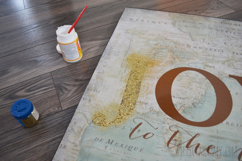 How to make large vintage map glitter Joy to the World canvas art