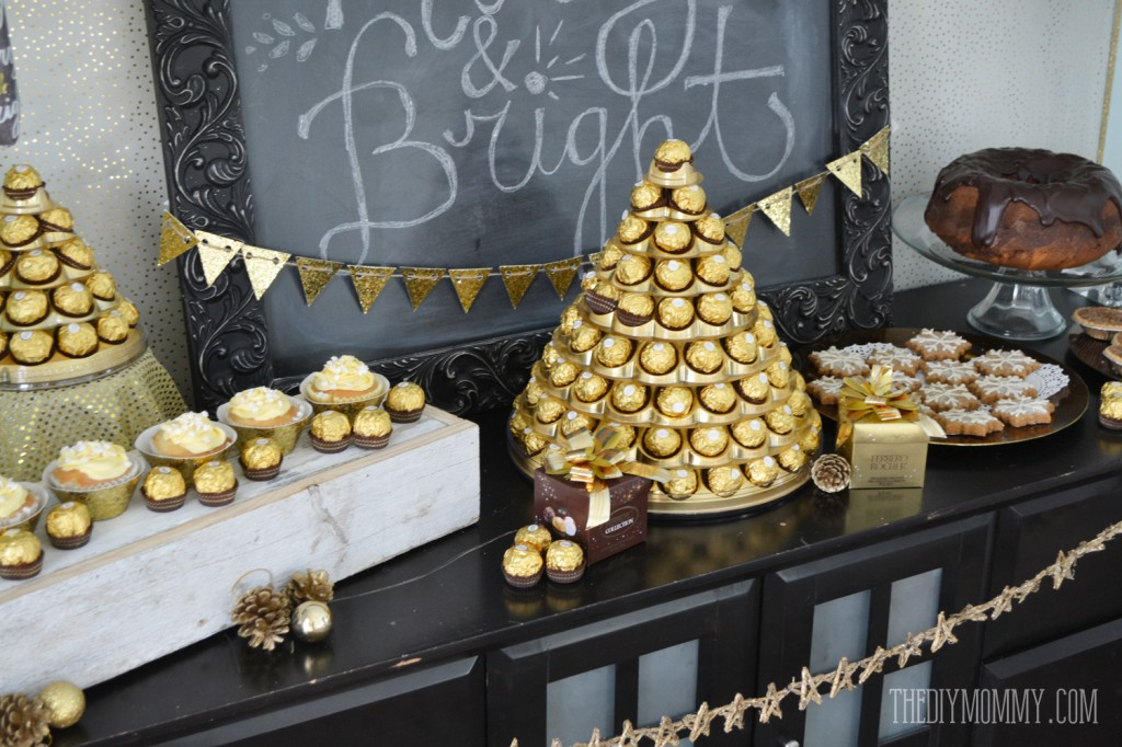Gold And Black Glamorous Christmas Or New Year S Dessert Table With Ferrero Rocher