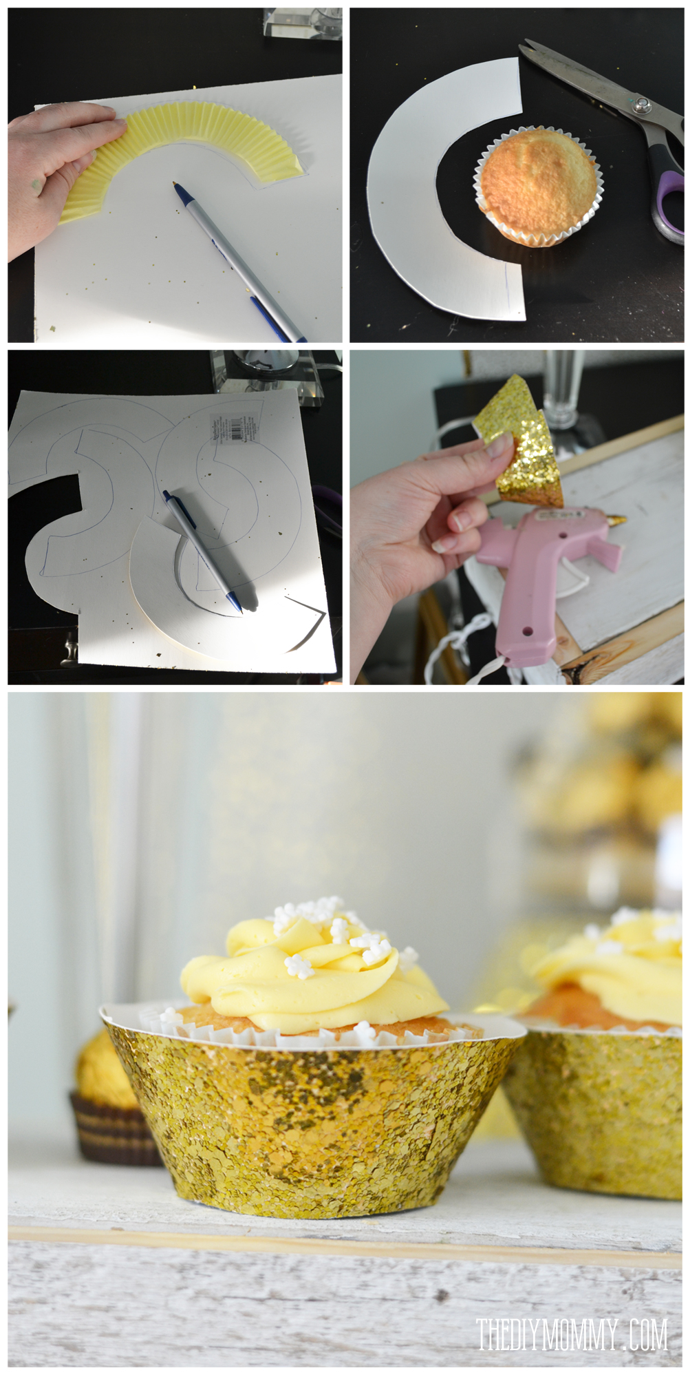 How to make glittery gold cupcake wrappers