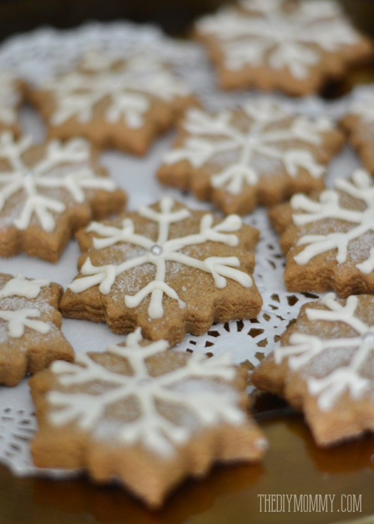 Gingerbread cookies with snowflake icing