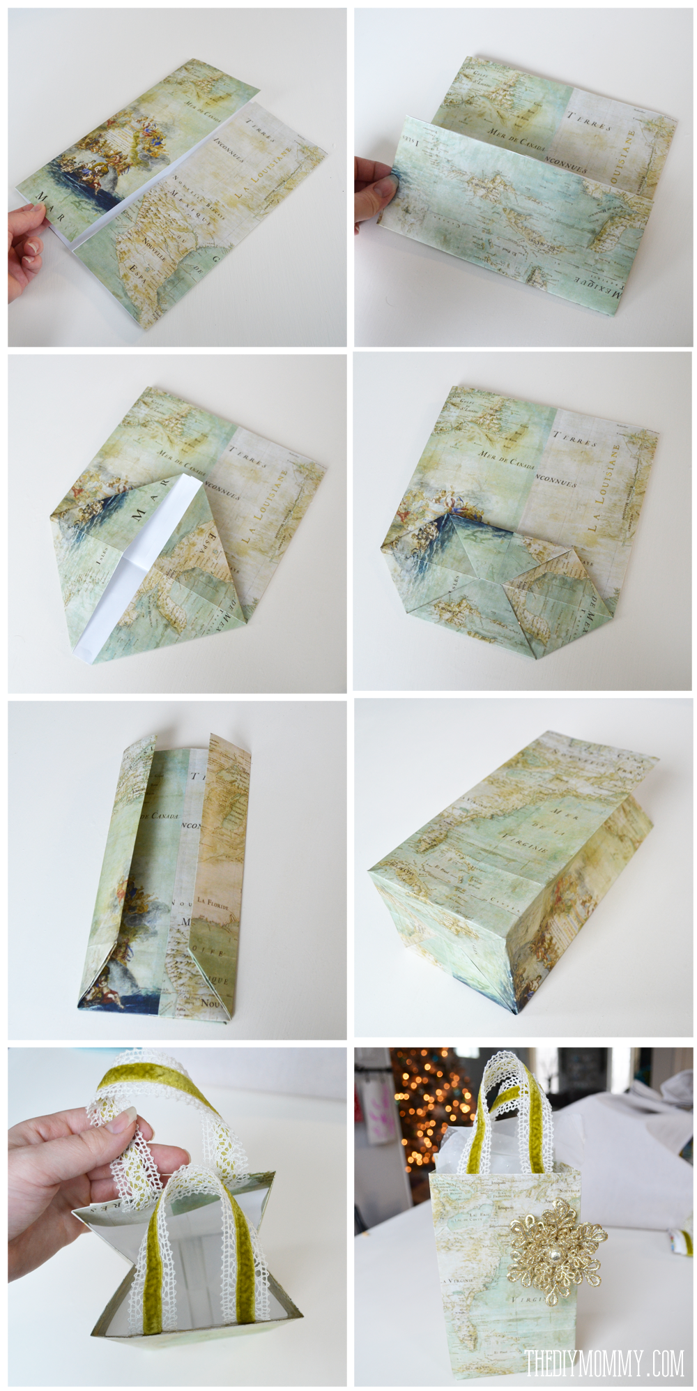 Diy vintage map christmas gift wrap and gift bags the for How to wrap presents with wrapping paper