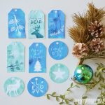 Turquoise, teal and green watercolor free printable Christmas gift tags