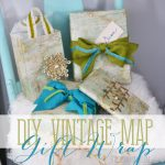 Wrap Christmas presents in vintage maps that you find or print, and accent them with green, teal and gold ribbon