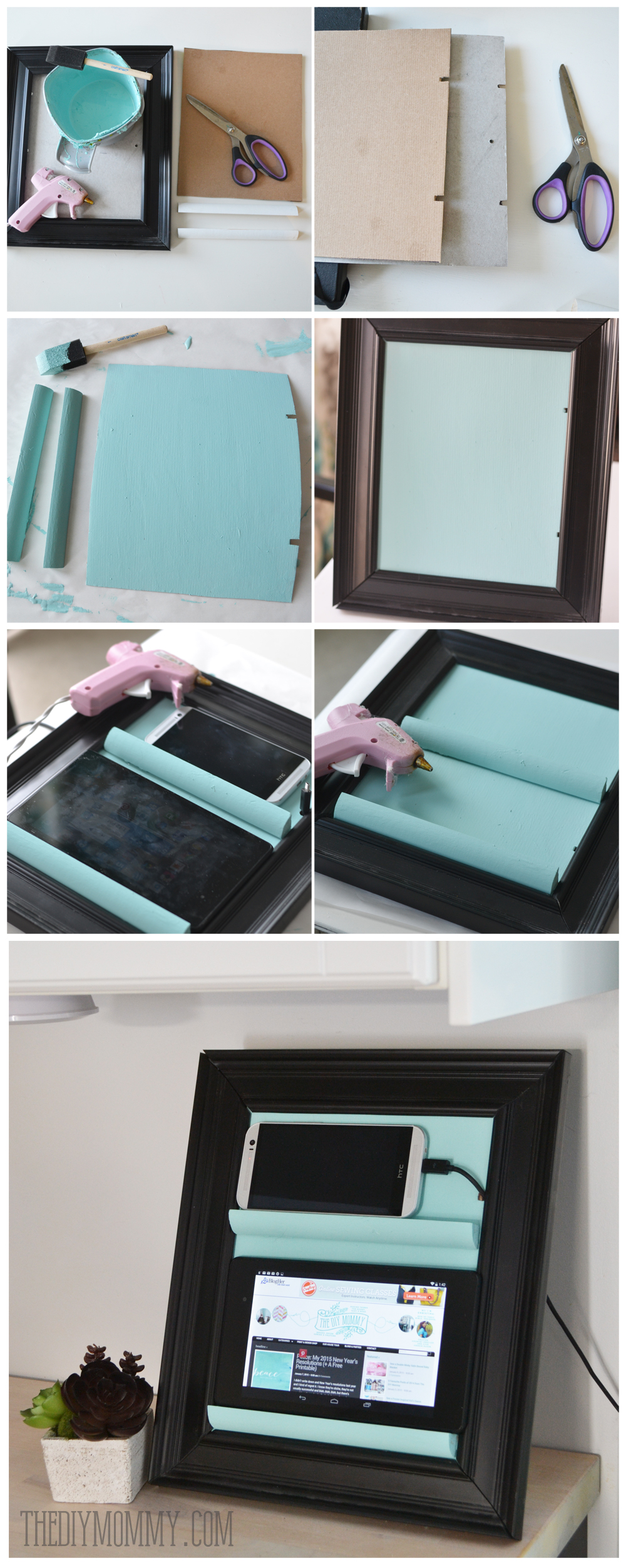 How to make a counter top tablet and phone holder and charging station out of a picture frame and some trim