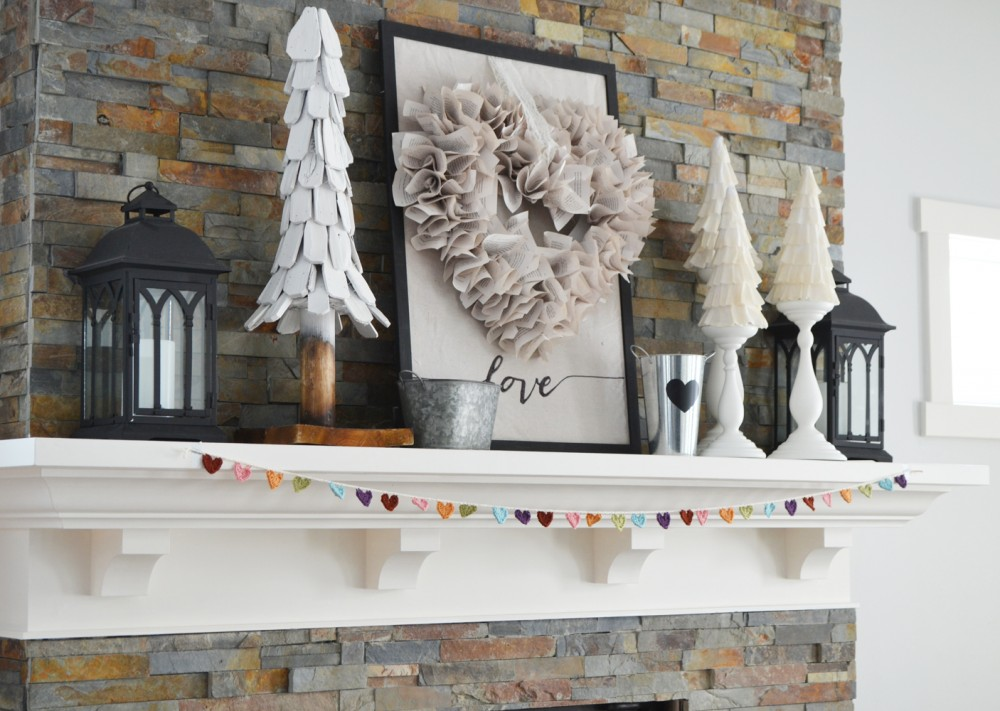 Our Neutral Valentine S Day Mantel Decor The Diy Mommy