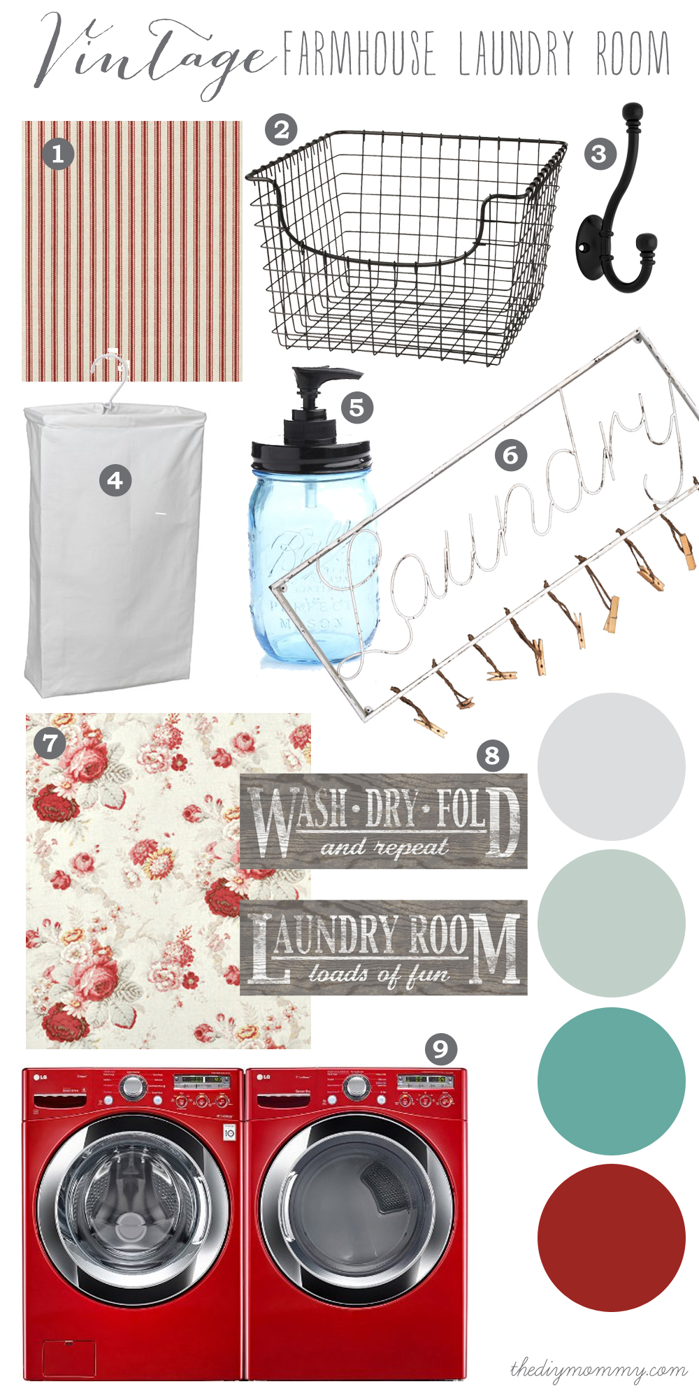 A Vintage Farmhouse Laundry Room design idea in aqua, mint and cherry red.