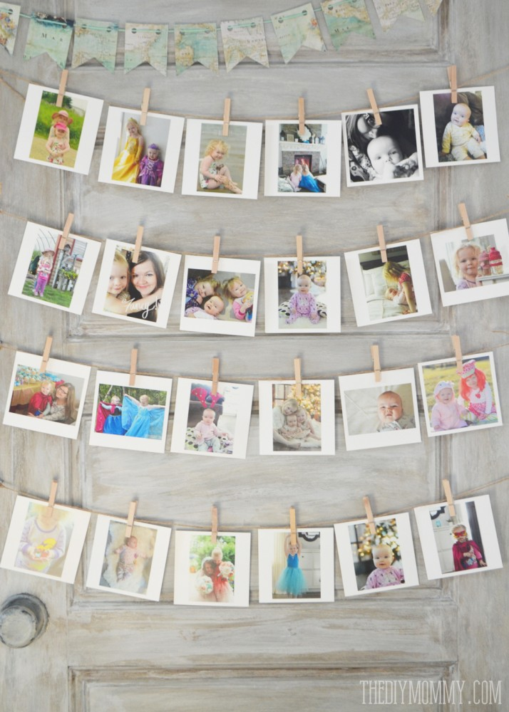 Unique and fun idea: display Instagram photos on an old door with twine and clothespins.