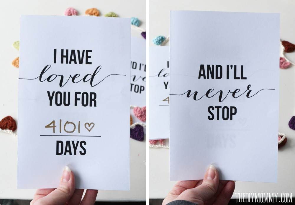 I Have Loved You For This Many Days Free Valentine or – Free Printable Valentine Cards for Husband