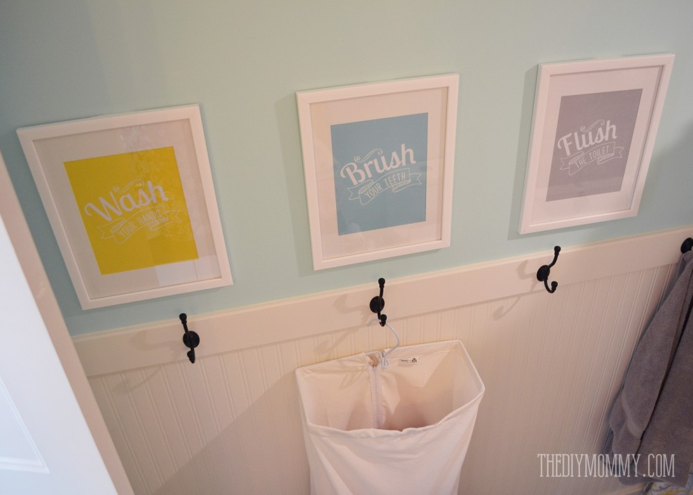 A diy beadboard hook wall in the kids bathroom the diy for Bathroom wall pictures