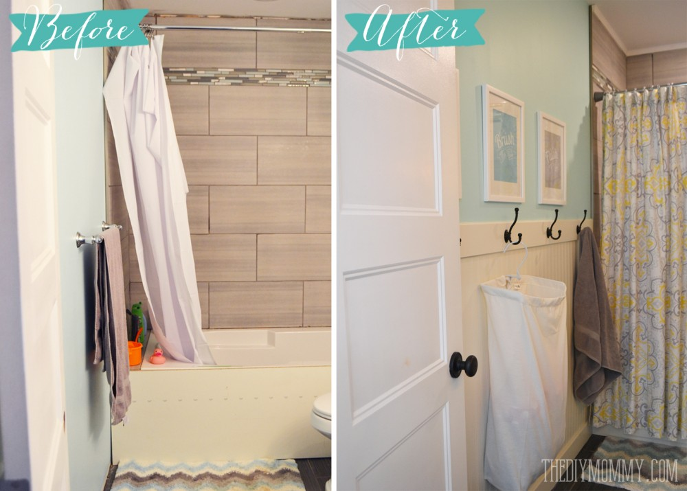 How to install an easy DIY beadboard hook wall in a bathroom. It's pretty and practical!
