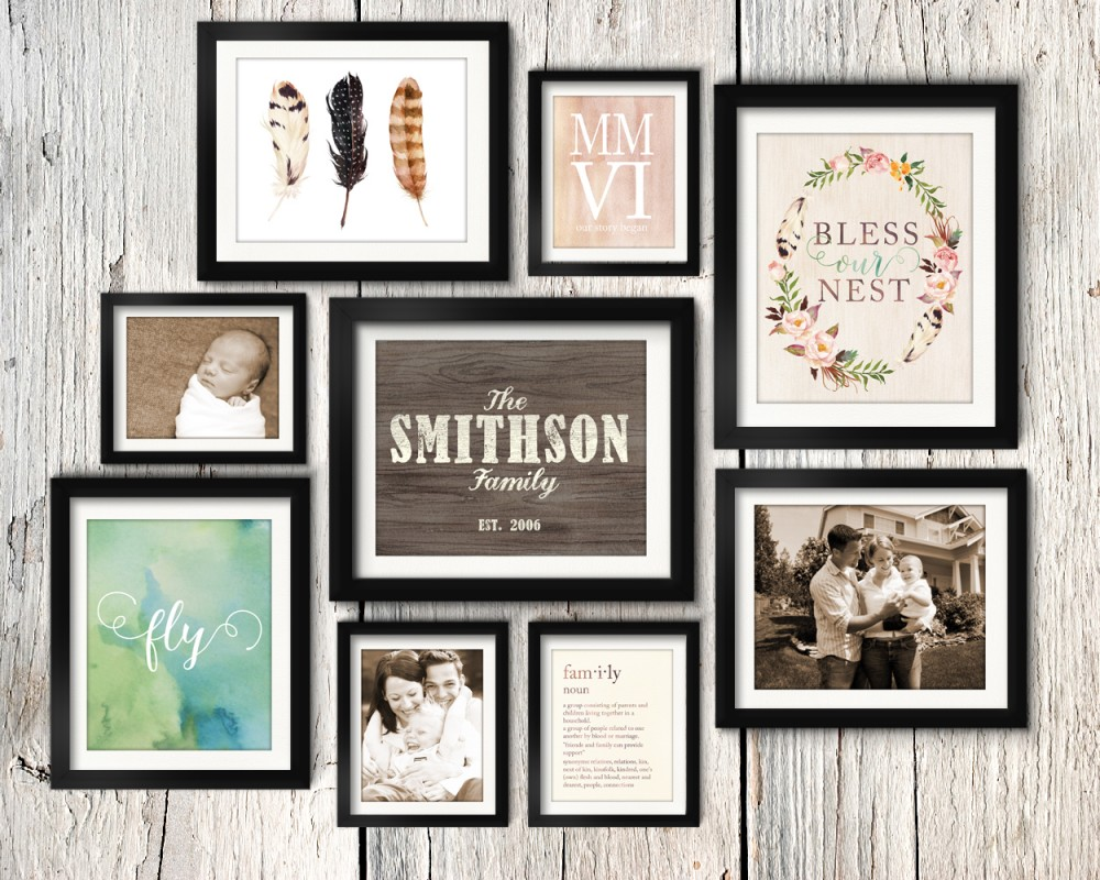 Asymmetrical vintage rustic family gallery wall idea printable pack