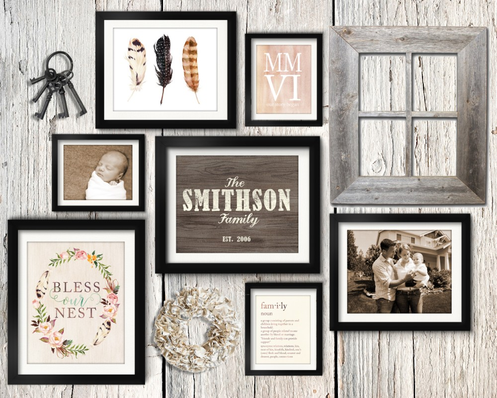 Asymmetrical vintage rustic family gallery wall idea with paper wreath, vintage keys and barn wood frame.