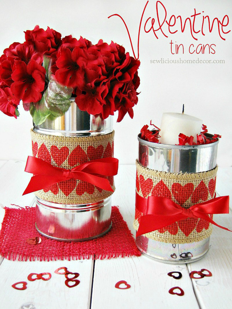 Valentine Tin Cans with Burlap