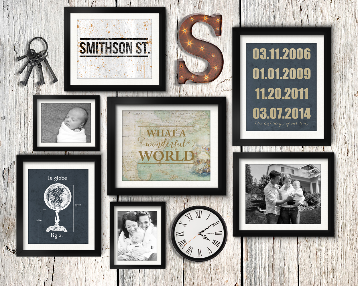 Asymmetrical vintage industrial family gallery wall idea with rusty letter, vintage keys, and clock.