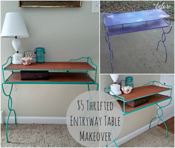 thrifted entryway table