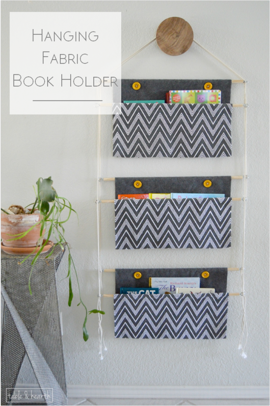 DIY Hanging Fabric Book Holder