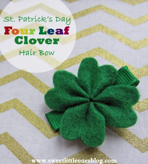 St. Patrick's Day Four Leaf Clover Hair Bow from Sweet Little Ones