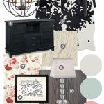 Mood Board: Modern French Country Glam Sitting Room. A formal living room featuring classic french country items mixed with more modern items. The pallate is mint, coral, black and cream.
