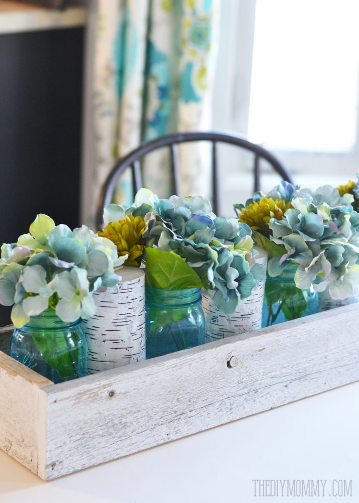 Mason Jar Home Decor Ideas Part - 17: Rustic Spring Planter Box Centerpiece With Mason Jars U0026 Hydrangeas