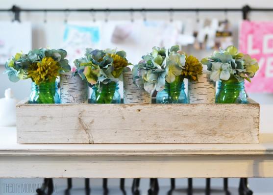 Rustic Spring Teal Mason Jars + Hydrangea Rustic Barnwood Box Centerpiece