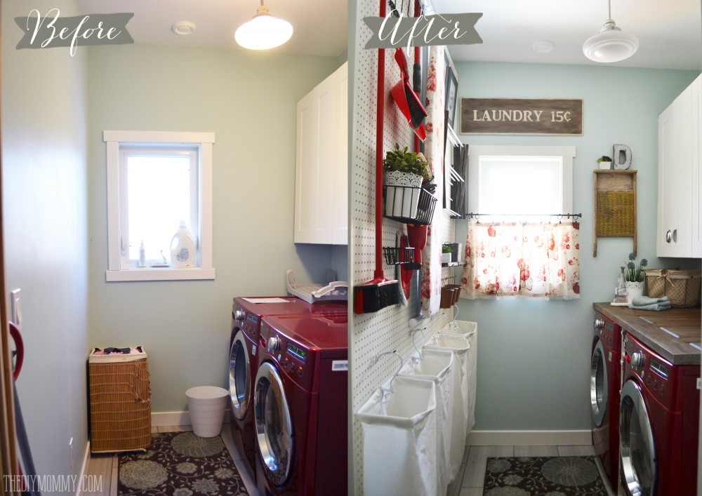 Vintage Red and Aqua Small Laundry Room Design Ideas The DIY Mommy