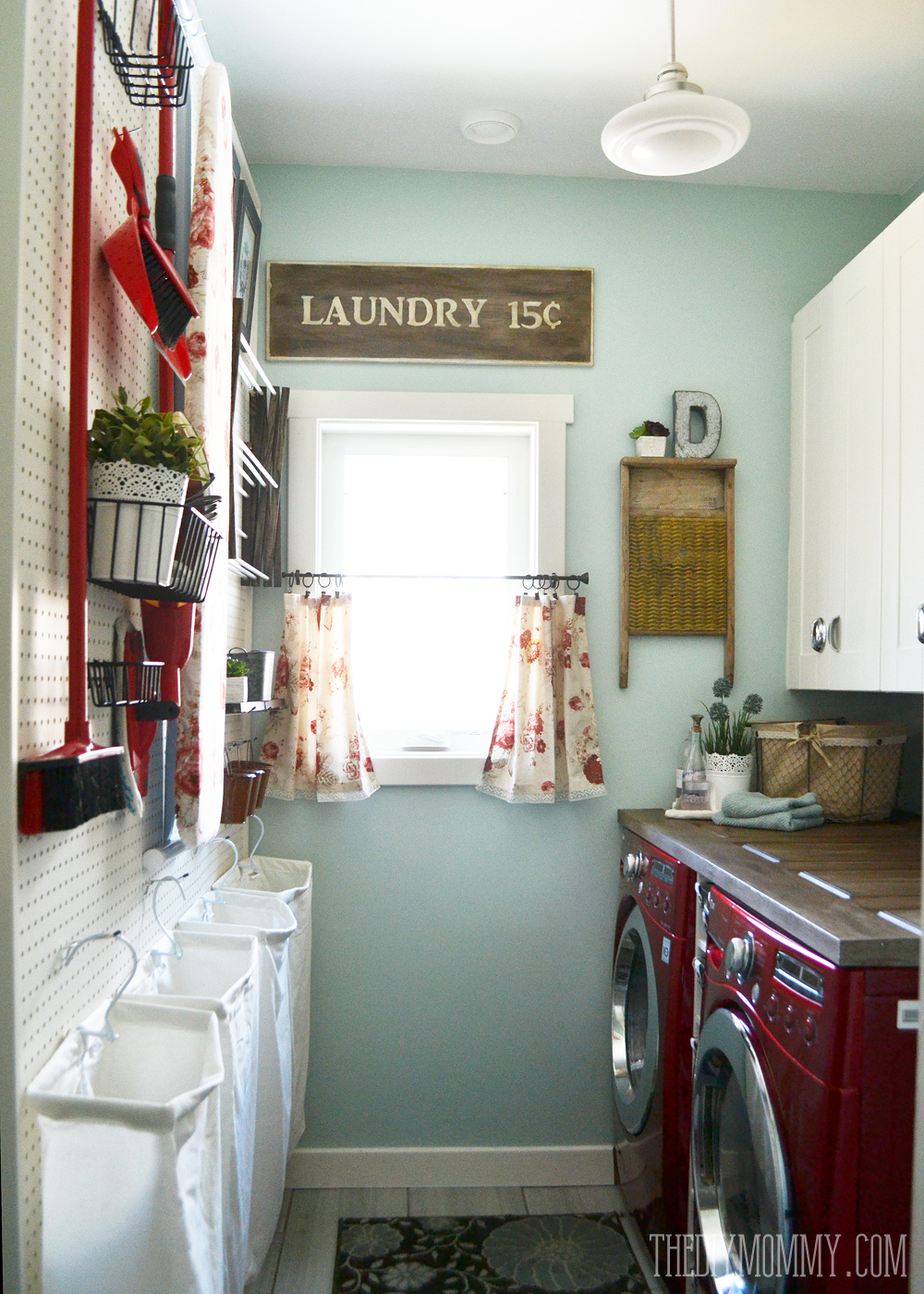Vintage-Red-Aqua-Pegboard-Laundry-Room-Design-Ideas-2 Paint Ideas For Vintage Kitchen on vintage kitchen counter ideas, vintage kitchen flooring ideas, vintage kitchen remodeling ideas, vintage kitchen floor ideas, vintage kitchen decorating ideas, vintage kitchen lighting ideas,