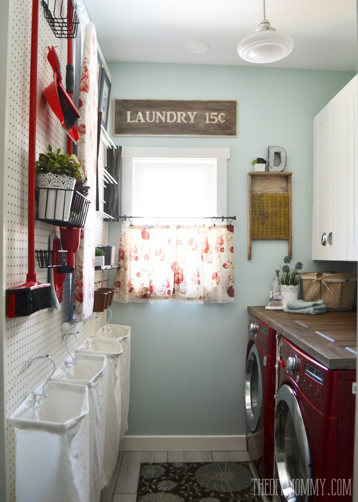 DIY Aqua U0026 Red Vintage Inspired Small Laundry Room Design Idea With A Giant  Pegboard