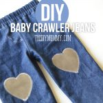 DIY baby crawler jeans with cute leather knee patches - tutorial.