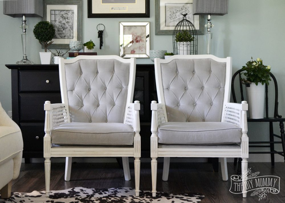 Vintage Midcentury Cane Chairs Painted White And Reupholstered In Grey Cotton Velvet