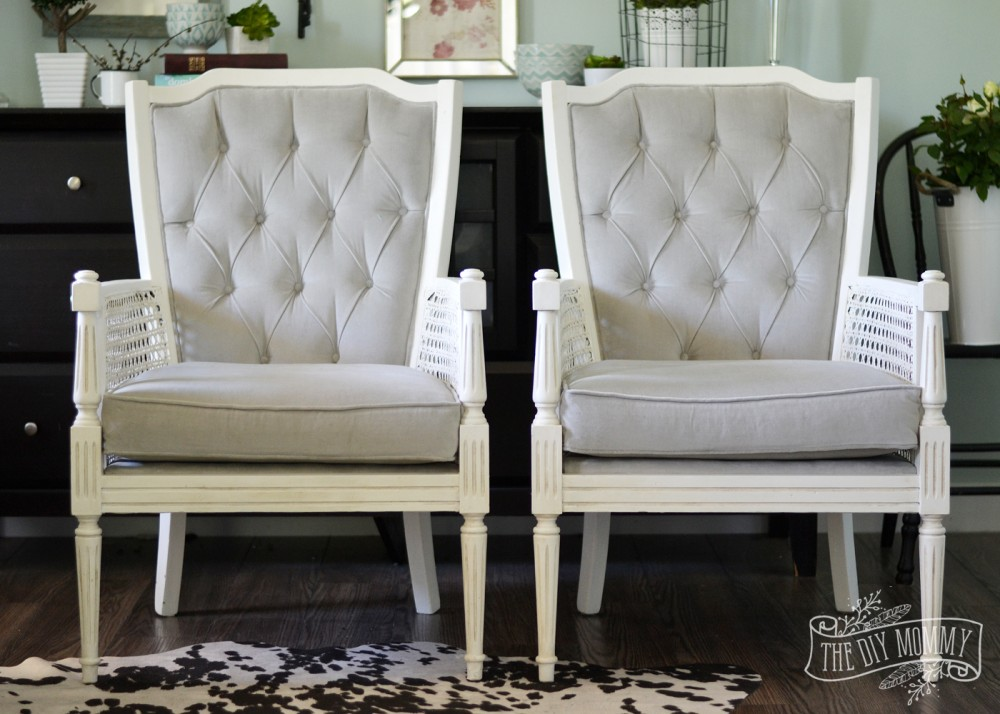 Vintage midcentury cane chairs painted white and reupholstered in grey cotton velvet.