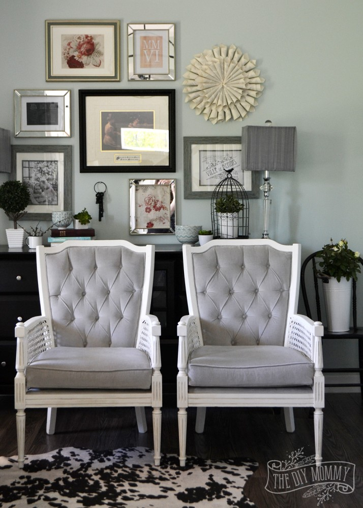 Vintage midcentury cane chairs painted white and reupholstered in grey  cotton velvet. - A Vintage Cane Chair Pair Makeover In Grey Velvet The DIY Mommy