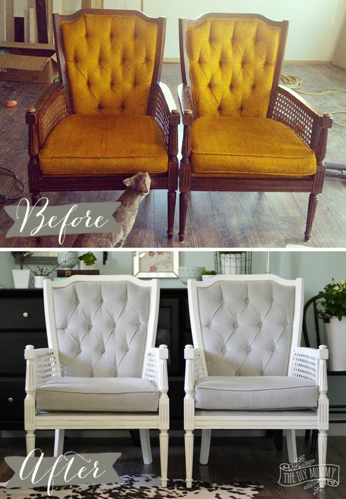 Superb Vintage Midcentury Cane Chairs Painted White And Reupholstered In Grey  Cotton Velvet.