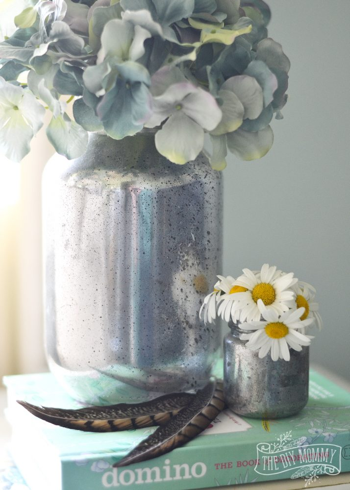 How to make faux mercury glass vases from recycled jars - this method doesn't use a water + vinegar spray prior to the spray paint!