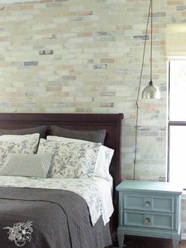 Realistic stenciled brick wall